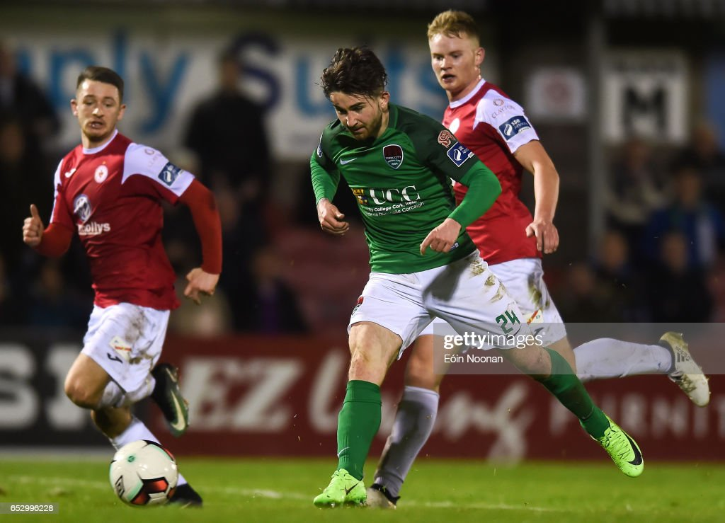 Munster , Ireland - 13 March 2017; Sean Maguire of Cork City scores his side's second goal during the SSE Airtricity League Premier Division match between Cork City and Sligo Rovers at Turners Cross in Cork.