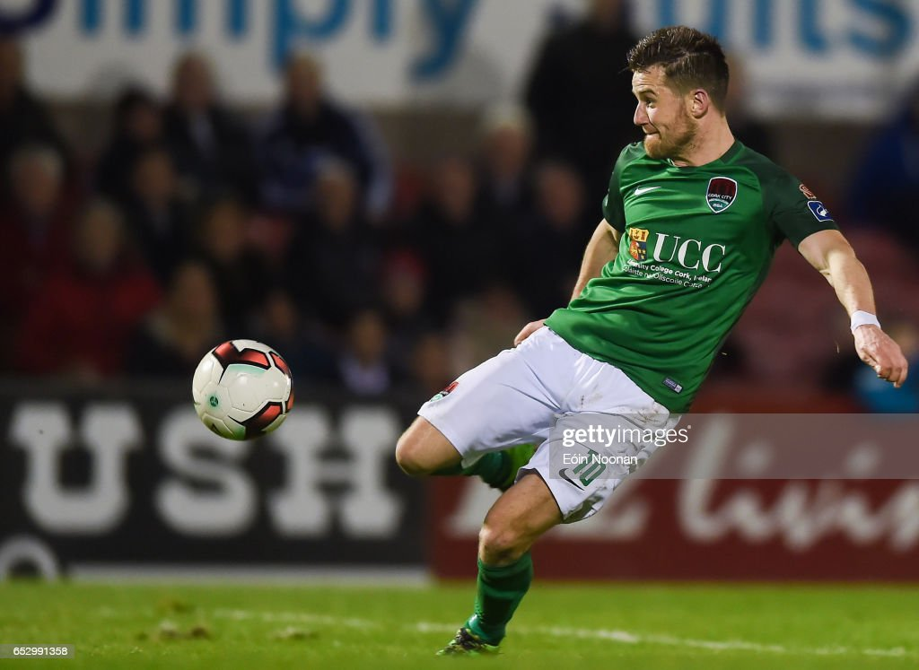 Munster , Ireland - 13 March 2017; Steven Beattie of Cork City shoots to score his side's first goal during the SSE Airtricity League Premier Division match between Cork City and Sligo Rovers at Turners Cross in Cork.