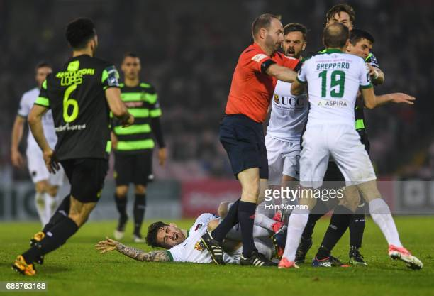 Munster Ireland 26 May 2017 Players from both teams are separated by referee James McKell after a foul on Sean Maguire of Cork City during the SSE...