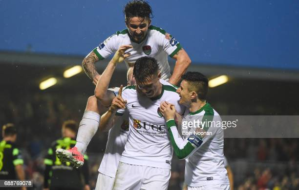 Munster Ireland 26 May 2017 Ryan Delaney of Cork City celebrates with John Dunleavy right and Sean Maguire after scoring his side's third goal during...
