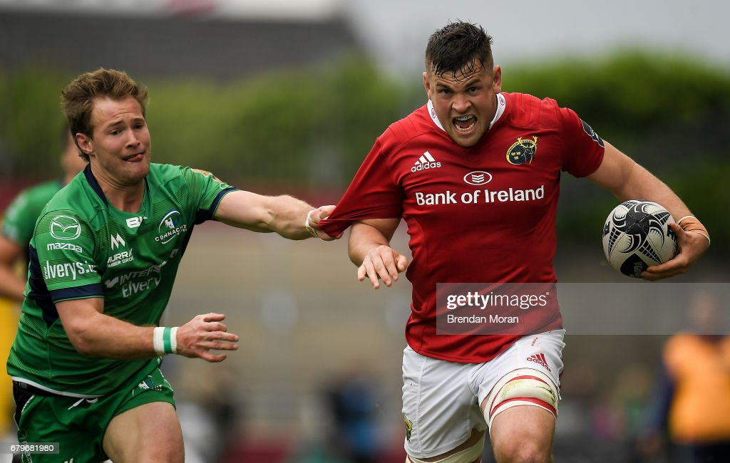 Munster , Ireland - 6 May 2017; Conor Oliver of Munster is tackled by Kieran Marmion of Connacht during the Guinness PRO12 Round 22 match between Munster and Connacht at Thomond Park, in Limerick.