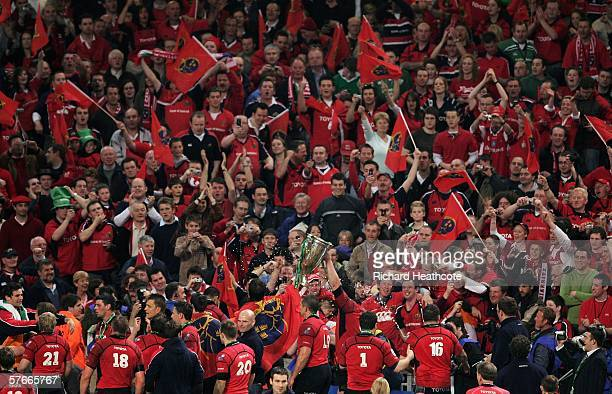 Munster Players parade the Trophy before their Fans following victory during the Heineken Cup Final between Munster and Biarritz Olympique at the...
