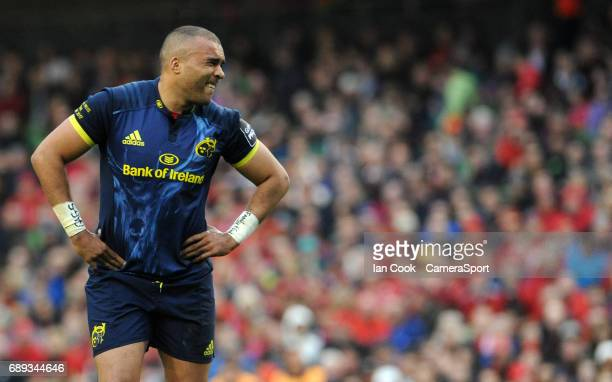 Munster's Simon Zebo wince's in pain after picking up a knock during the Guinness PRO12 Final match between Munster and Scarlets at the Aviva Stadium...