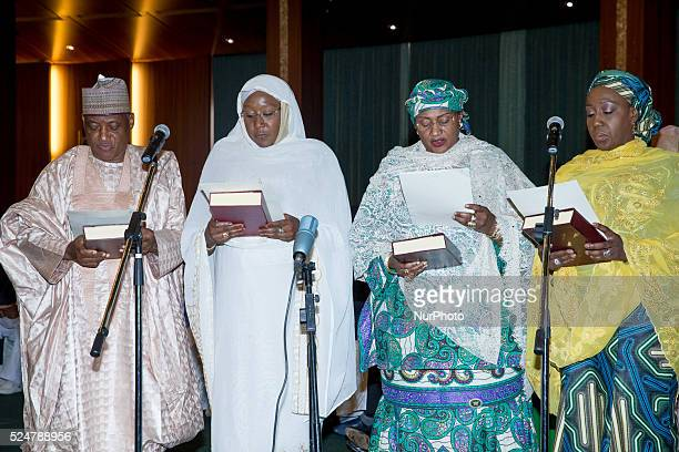 LR Munsur Mohammed Dan Ali Hajia Khadija Bukar Ibrahim Aisha Jummai Alhassan and Aisha Abubakar taking their Oath of Office as President Buhari...