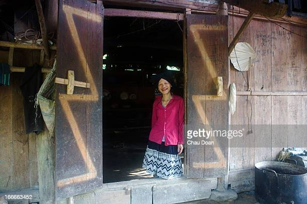 Muong ethnic minority woman Ban Thi Mai at her house in Duong hamlet Vay Nua commune Da Bac district Hoa Binh province Poor farmers in Vay Nua...