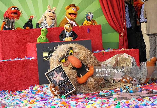 Muppet characters Animal, Pepe, Miss Piggy, Fozzie, Gonzo, Kermit, Walter and Sweetums attend the ceremony honoring them with a Star on The Hollywood...