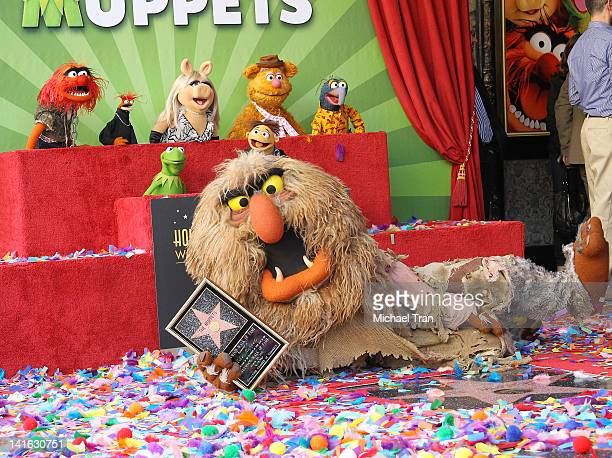 Muppet characters Animal Pepe Miss Piggy Fozzie Gonzo Kermit Walter and Sweetums attend the ceremony honoring them with a Star on The Hollywood WOCKA...