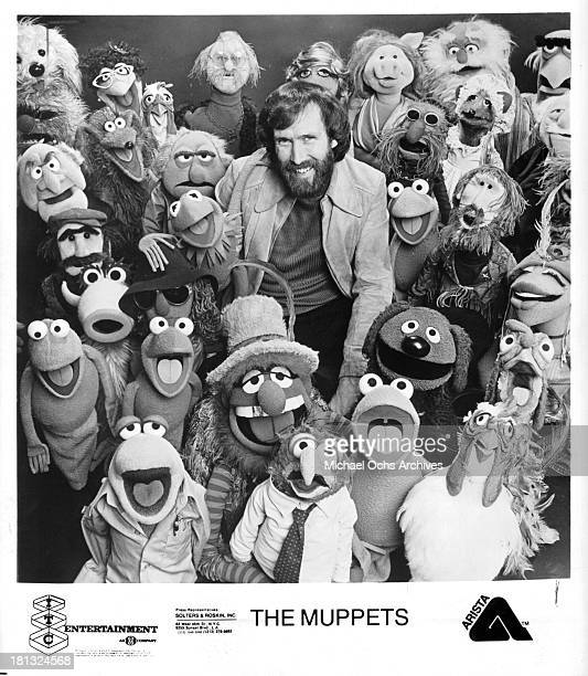 Muppet creator Jim Henson with his Muppets on set of 'The Muppet' in 1980