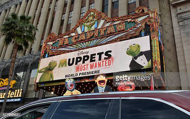 Muppets The Great Gonzo Walter and Animal arrive for the premiere of Disney's Muppets Most Wanted at the El Capitan Theatre on March 11 2014 in...