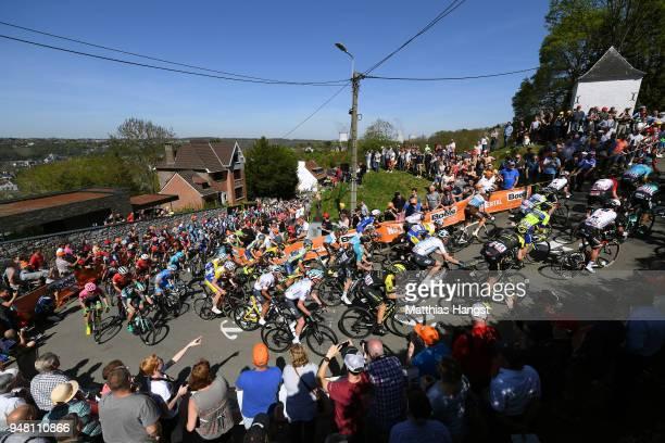 Mur De Huy / Landscape / Peloton / Fans / Public / during the 82nd La Fleche Wallonne 2018 a 198,5km race from Seraing to Mur De Huy on April 18,...