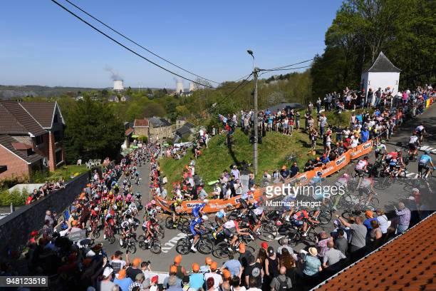Mur De Huy / Landscape / Peloton / Fans / Public / during the 82nd La Fleche Wallonne 2018 a 1985km race from Seraing to Mur De Huy on April 18 2018...