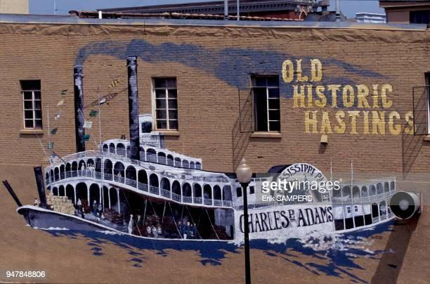 Mur peint d'un bateau à vapeur circa 2000 Hastings Minnesota Etats Unis