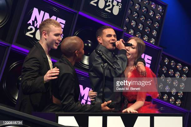 Mura Masa Julie Adenuga Slowthai and Katherine Ryan attend The NME Awards 2020 at the O2 Academy Brixton on February 12 2020 in London England