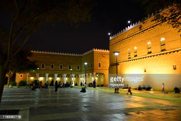 murabba palace seen from al haras park, nocturnal, riyadh, saudi arabia - square stock pictures, royalty-free photos & images