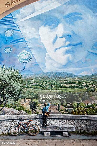 Mural about the French World War Two resistance fighter Jean Moulin at SaintAndiol BouchesduRhone France