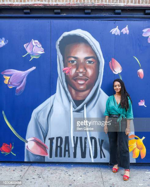 Mural artist Tatyana Fazlalizadeh and actor/owner of Liberated People Gbenga Akinnagbe surrounded by kids from the nonprofit organization The Door at...