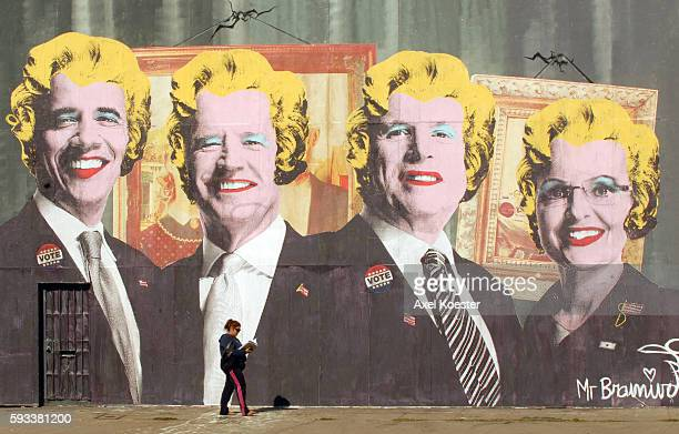 A mural by an unidentified artist depicts Democratic presidential candidate Barack Obama Democratic vice presidential candidate Joe Biden Republican...