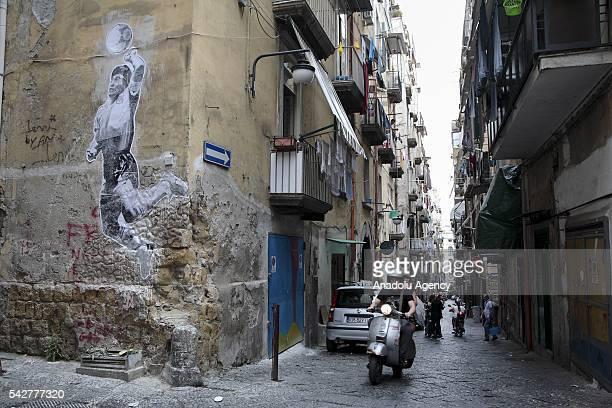 A mural by Argentine artist Santiago Spiga alias 'Spiga' depicts Argentine former football player Diego Armando Maradona to celebrate the 30th...