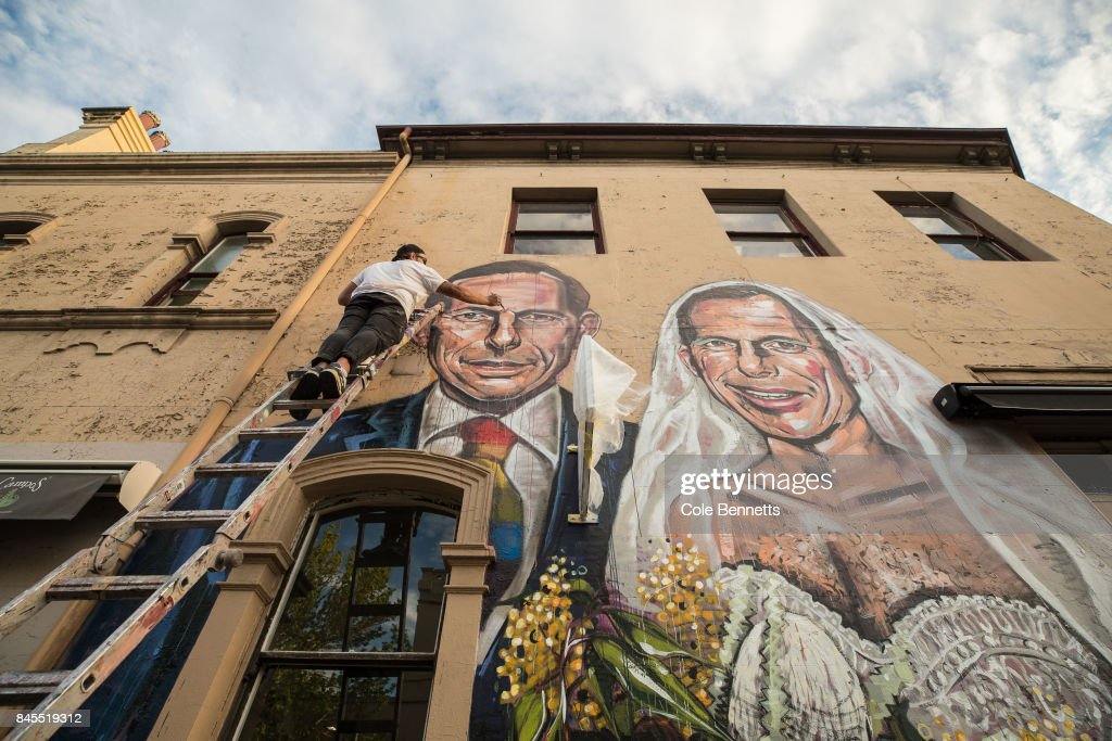 Mural Of Tony Abbott Marrying Himself Goes Up In Support Of Marriage Equality : News Photo