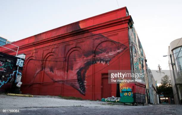 APRIL A mural by artist Shark Toof on the back of the State Theatre in the 600 block of the Central Avenue alley on April 19 2018 in St Petersburg...