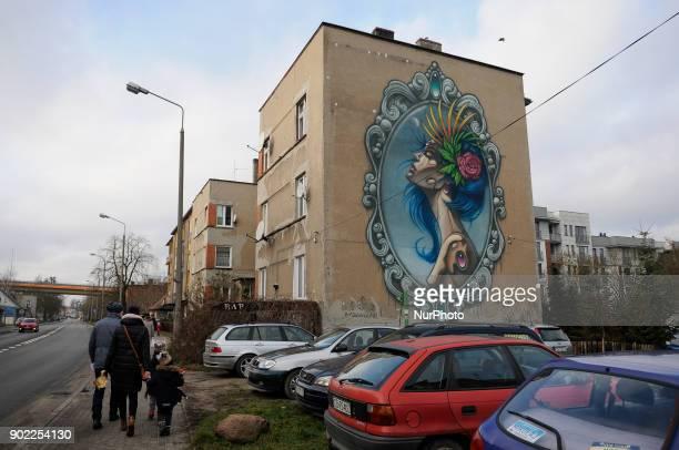 A mural by artists SOPA and Setka is seen in Bydgoszcz Poland on January 6 2017