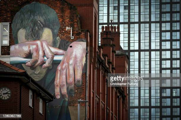 Mural by german artist Case depicts mental health issues on a wall in the city centre on October 15, 2020 in Manchester, England. Manchester was...