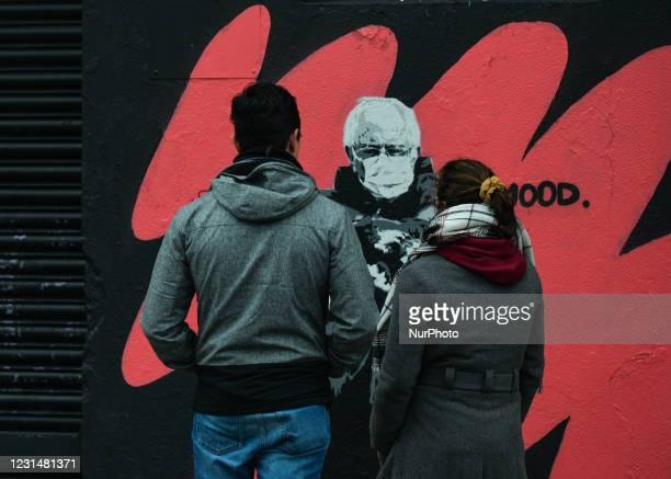Mural by Irish artist Emmalene Blake, representing US Senator Bernie Sanders at Joe Biden's inauguration as the 46th President of the US, in early...