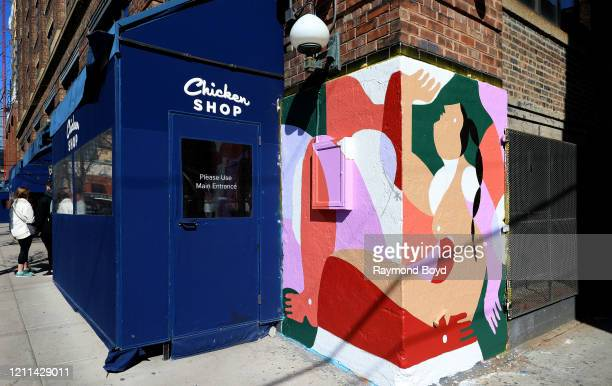 Mural by Liz Flores, part of 'Graffiti On Green's monthly rotating murals is displayed outside The Allis at Soho House in the Fulton Market...