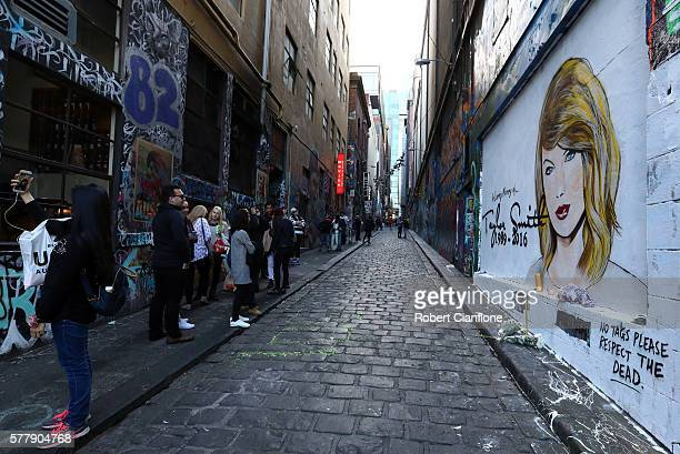 A mural by Melbourne graffiti artist Lushsux is seen in Hosier Lane on July 20 2016 in Melbourne Australia The mural was painted in response to the...
