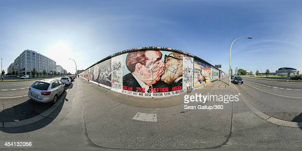A mural by Russian painter Dmitri Vrubel depicts former Soviet leader Leonid Brezhnev kissing former East German communist leader Erich Honecker on...