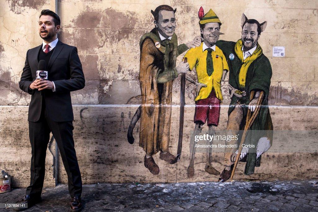 ITA: Street Art By Tvboy Depicts Italian Politicians In Rome