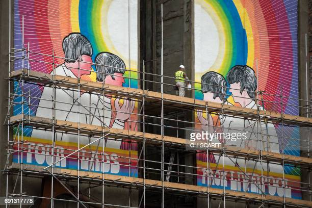 A mural by US artist Judy Chicago entitled 'Fixing a Hole' which depicts the Beatles and was inspired by their song of the same name from the 'Sgt...