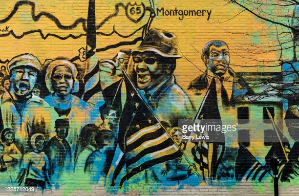 Mural celebrating the Civil Rights heritage from the Freedom Fighters, who aimed to desegregate interstate transport, to Rosa Parks and the 1965...