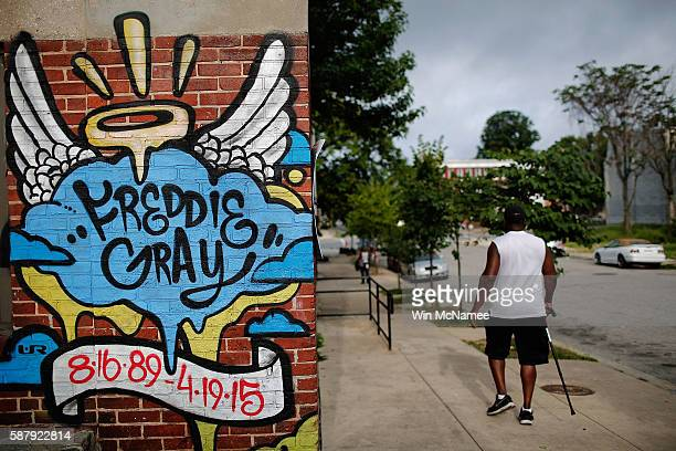 A mural dedicated to Freddie Gray is shown near the location where he was arrested August 10 2016 in Baltimore Maryland The Justice Department is...