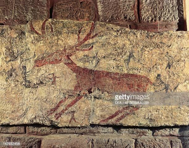 Mural depicting a deer Sanctuary of Catal Hoyuk or Catalhuyuk Turkey 6th Millennium BC Ankara Anadolu Medeniyetler Muzesi