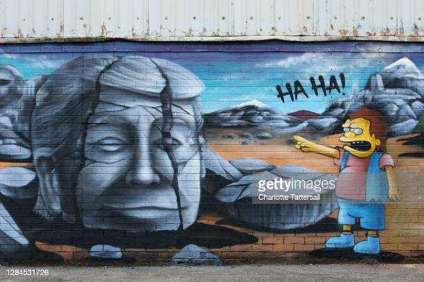 Mural depicting Donald Trump being laughed at by a character from The Simpsons is seen at Islington Mill on November 08, 2020 in Salford, England....