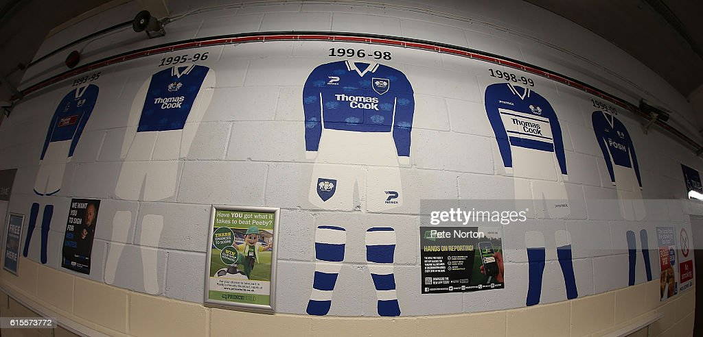 A mural depicting former shirt styles of Peterborough United is seen prior tothe Sky Bet League One match between Peterborough United and Northampton Town at ABAX Stadium on October 18, 2016 in Peterborough, England.