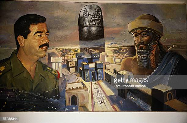A mural depicting Iraqi President Saddam Hussein with King Nebecanezzer at The Hanging Gardens of Babylon