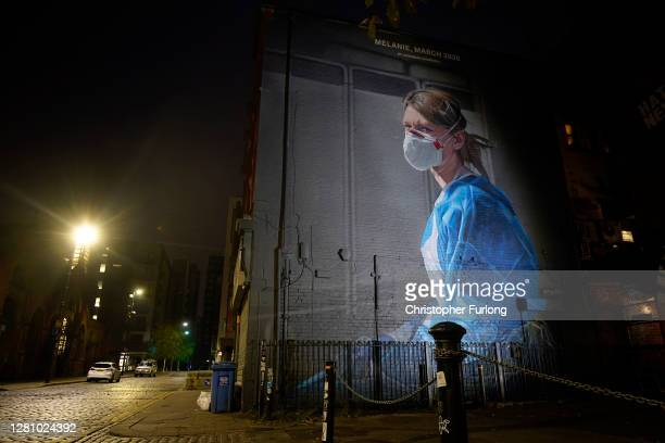 Mural depicting NHS nurse Melanie Senior, based on a photograph by Johannah Churchill, which The National Portrait Gallery commissioned artist Peter...