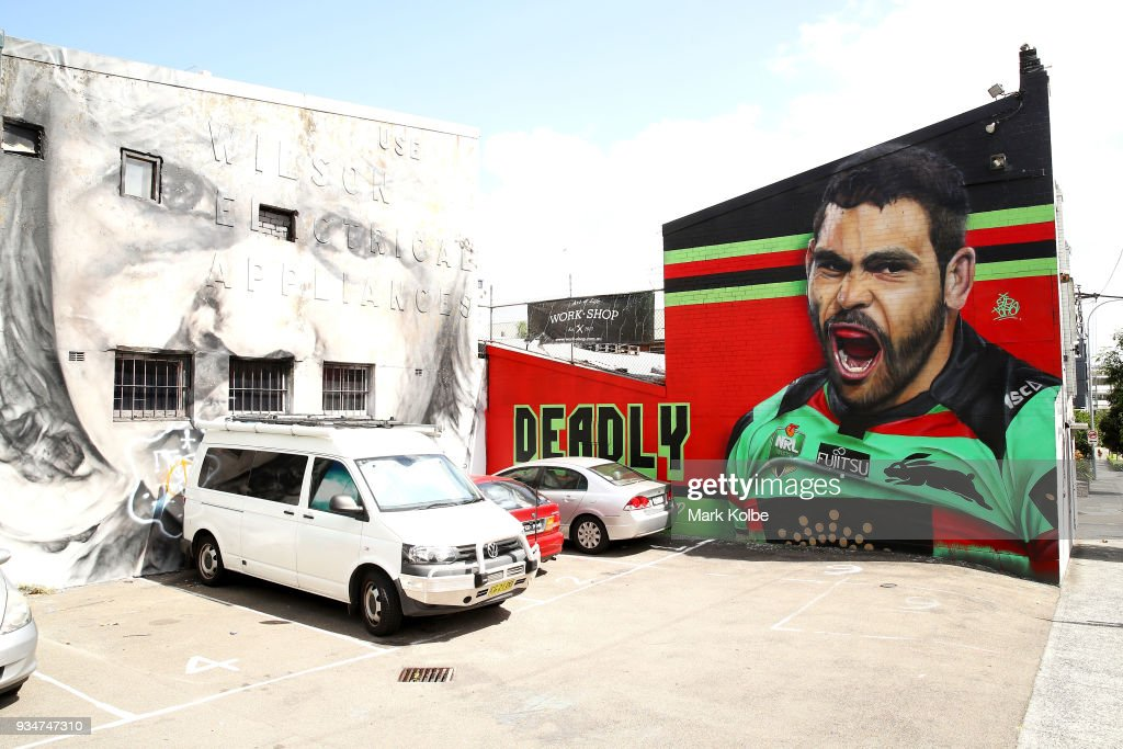 A mural depicting South Sydney NRL player Greg Inglis is seen on the exterior wall of 'Work-Shop', on Cleveland Street, Redfern on March 20, 2018 in Sydney, Australia.