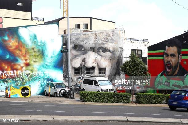 A mural depicting South Sydney NRL player Greg Inglis is seen on the exterior wall of 'WorkShop' on Cleveland Street Redfern on March 20 2018 in...