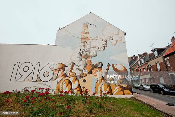 Mural Depicting The 1916 Destruction Of The Church Albert Somme France