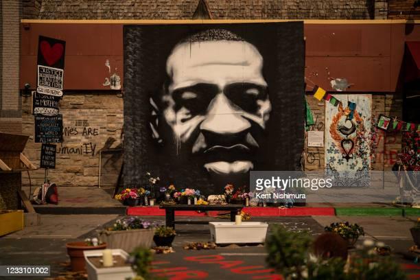 Mural depicting the late George Floyd at George Floyd Memorial Square, on Saturday, May 22, 2021 in Minneapolis, MN.
