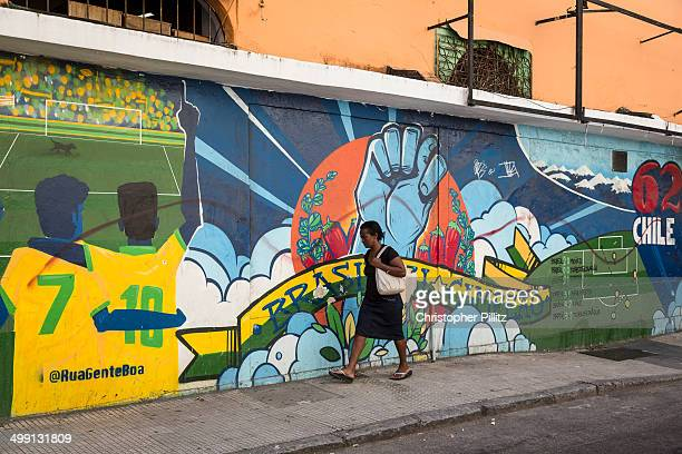 Mural depicts Brazil's 1962 victory at World Cup