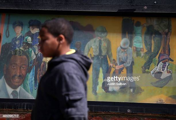 Mural depicts police violence that occured during the Semla to Montgomery civil rights march on March 6, 2015 in Selma, Alabama. Selma is preparing...