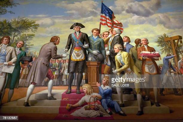A mural depicts the first US President and a member of the Freemasons George Washington as he lays the cornerstone of the US Capitol on September 18...