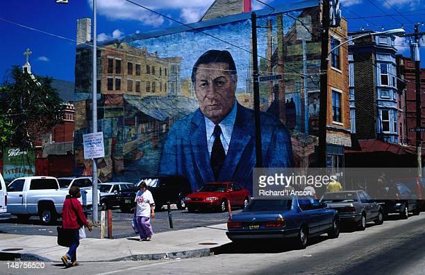 Mural featuring Frank Rizzo, former Mayor of Philadelphia, on South 9th Street near the Italian Market.