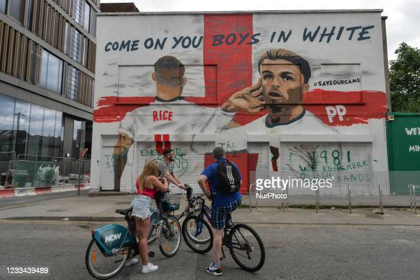 Mural featuring the English duo Jack Grealish and Declan Rice at Euro 2020 and the words 'Come On You Boys In White' has has appeared in the center...