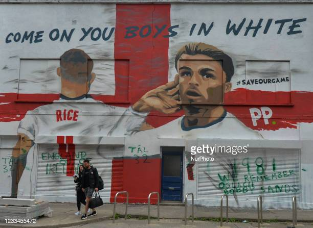Mural featuring the English duo Jack Grealish and Declan Rice at Euro 2020 and the words 'Come On You Boys In White' seen in the center of Dublin....