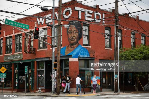 ATLANTA GA APRIL 25 A mural featuring the face of Stacey Abrams is seen on Thursday April 25 2019 in Atlanta GA